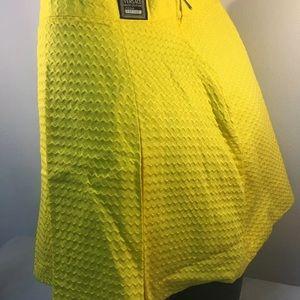 Yellow pleated Versace miniskirt